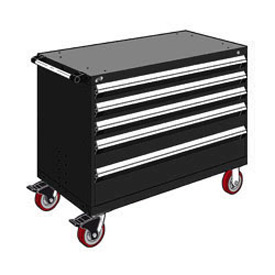 "Rousseau Metal 5 Drawer Heavy-Duty Mobile Modular Drawer Cabinet - 48""Wx24""Dx37-1/2""H Black"
