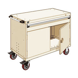 "Rousseau Metal 1 Drawer Heavy-Duty Mobile Modular Drawer Cabinet - 48""Wx24""Dx37-1/2""H Beige"