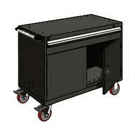 "Rousseau Metal 1 Drawer Heavy-Duty Mobile Modular Drawer Cabinet - 48""Wx24""Dx37-1/2""H Black"