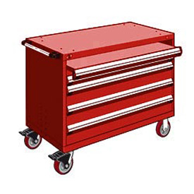 "Rousseau Metal 4 Drawer Heavy-Duty Mobile Modular Drawer Cabinet - 48""Wx24""Dx37-1/2""H Red"
