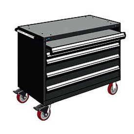 "Rousseau Metal 4 Drawer Heavy-Duty Mobile Modular Drawer Cabinet - 48""Wx24""Dx37-1/2""H Black"