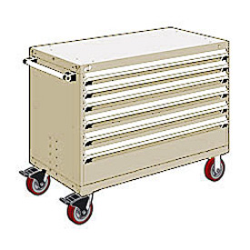 "Rousseau Metal 6 Drawer Heavy-Duty Mobile Modular Drawer Cabinet - 48""Wx27""Dx37-1/2""H Beige"