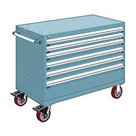 "Rousseau Metal 6 Drawer Heavy-Duty Mobile Modular Drawer Cabinet - 48""Wx27""Dx37-1/2""H Everest Blue"