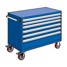 "Rousseau Metal 6 Drawer Heavy-Duty Mobile Modular Drawer Cabinet - 48""Wx27""Dx37-1/2""H Avalanche Blue"