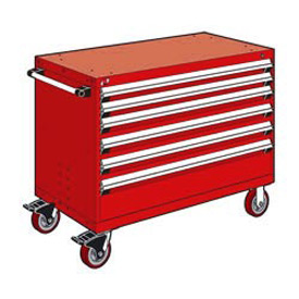 "Rousseau Metal 6 Drawer Heavy-Duty Mobile Modular Drawer Cabinet - 48""Wx27""Dx37-1/2""H Red"