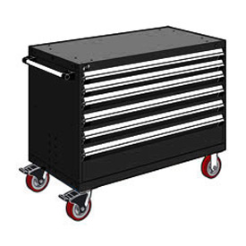 "Rousseau Metal 6 Drawer Heavy-Duty Mobile Modular Drawer Cabinet - 48""Wx27""Dx37-1/2""H Black"