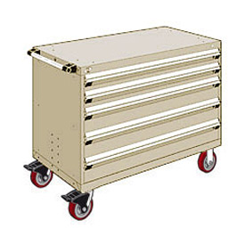 "Rousseau Metal 5 Drawer Heavy-Duty Mobile Modular Drawer Cabinet - 48""Wx27""Dx37-1/2""H Beige"