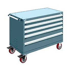 "Rousseau Metal 5 Drawer Heavy-Duty Mobile Modular Drawer Cabinet - 48""Wx27""Dx37-1/2""H Everest Blue"