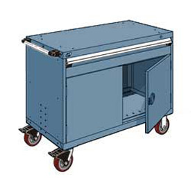 """Rousseau Metal 1 Drawer Heavy-Duty Mobile Modular Drawer Cabinet - 48""""Wx27""""Dx37-1/2""""H Everest Blue"""