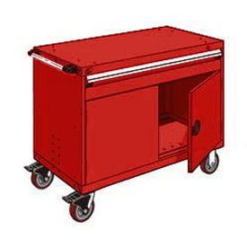"Rousseau Metal 1 Drawer Heavy-Duty Mobile Modular Drawer Cabinet - 48""Wx27""Dx37-1/2""H Red"
