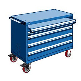 "Rousseau Metal 4 Drawer Heavy-Duty Mobile Modular Drawer Cabinet - 48""Wx27""Dx37-1/2""H Avalanche Blue"