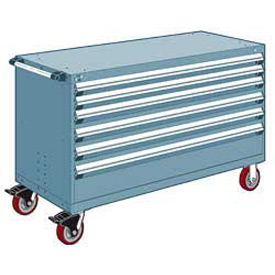 "Rousseau Metal 6 Drawer Heavy-Duty Mobile Modular Drawer Cabinet - 60""Wx24""Dx37-1/2""H Everest Blue"
