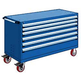 "Rousseau Metal 6 Drawer Heavy-Duty Mobile Modular Drawer Cabinet - 60""Wx24""Dx37-1/2""H Avalanche Blue"