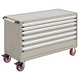 "Rousseau Metal 6 Drawer Heavy-Duty Mobile Modular Drawer Cabinet - 60""Wx24""Dx37-1/2""H Light Gray"