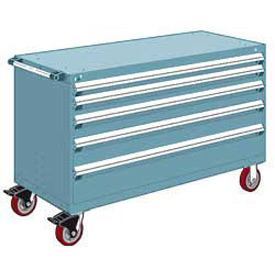 """Rousseau Metal 5 Drawer Heavy-Duty Mobile Modular Drawer Cabinet - 60""""Wx24""""Dx37-1/2""""H Everest Blue"""