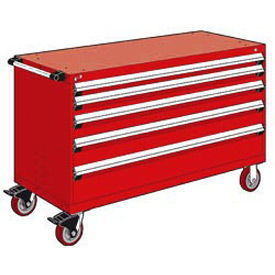 "Rousseau Metal 5 Drawer Heavy-Duty Mobile Modular Drawer Cabinet - 60""Wx24""Dx37-1/2""H Red"