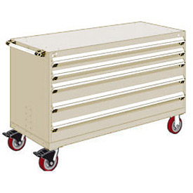 "Rousseau Metal 5 Drawer Heavy-Duty Mobile Modular Drawer Cabinet - 60""Wx24""Dx37-1/2""H Beige"