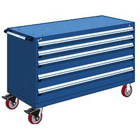 "Rousseau Metal 5 Drawer Heavy-Duty Mobile Modular Drawer Cabinet - 60""Wx24""Dx37-1/2""H Avalanche Blue"
