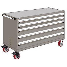 "Rousseau Metal 5 Drawer Heavy-Duty Mobile Modular Drawer Cabinet - 60""Wx24""Dx37-1/2""H Light Gray"