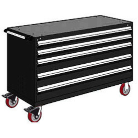"Rousseau Metal 5 Drawer Heavy-Duty Mobile Modular Drawer Cabinet - 60""Wx24""Dx37-1/2""H Black"