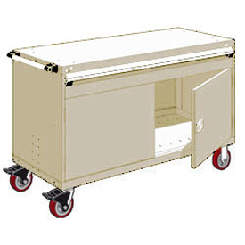 "Rousseau Metal 1 Drawer Heavy-Duty Mobile Modular Drawer Cabinet - 60""Wx24""Dx37-1/2""H Beige"
