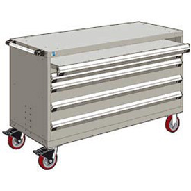 "Rousseau Metal 4 Drawer Heavy-Duty Mobile Modular Drawer Cabinet - 60""Wx24""Dx37-1/2""H Light Gray"