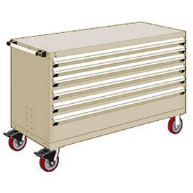 "Rousseau Metal 6 Drawer Heavy-Duty Mobile Modular Drawer Cabinet - 60""Wx27""Dx37-1/2""H Beige"