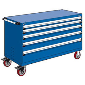 "Rousseau Metal 5 Drawer Heavy-Duty Mobile Modular Drawer Cabinet - 60""Wx27""Dx37-1/2""H Avalanche Blue"