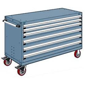 """Rousseau Metal 6 Drawer Heavy-Duty Mobile Modular Drawer Cabinet - 60""""Wx27""""Dx37-1/2""""H Everest Blue"""