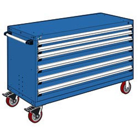 "Rousseau Metal 6 Drawer Heavy-Duty Mobile Modular Drawer Cabinet - 60""Wx27""Dx37-1/2""H Avalanche Blue"