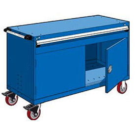 "Rousseau Metal 1 Drawer Heavy-Duty Mobile Modular Drawer Cabinet - 60""Wx27""Dx37-1/2""H Avalanche Blue"