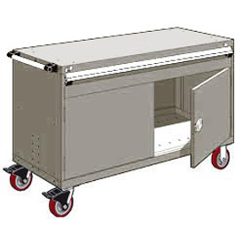 """Rousseau Metal 1 Drawer Heavy-Duty Mobile Modular Drawer Cabinet - 60""""Wx27""""Dx37-1/2""""H Light Gray"""