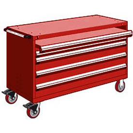 "Rousseau Metal 4 Drawer Heavy-Duty Mobile Modular Drawer Cabinet - 60""Wx27""Dx37-1/2""H Red"
