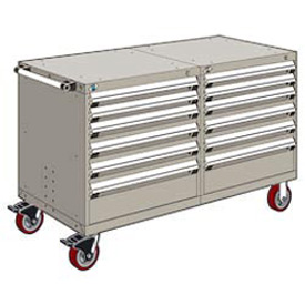 "Rousseau 12 Drawer Heavy-Duty Double Mobile Modular Drawer Cabinet - 48""Wx27""Dx37-1/2""H Light Gray"