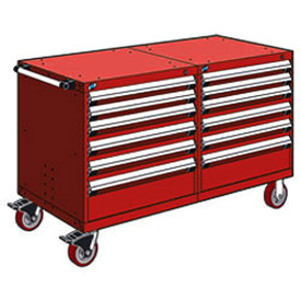 "Rousseau 12 Drawer Heavy-Duty Double Mobile Modular Drawer Cabinet - 48""Wx27""Dx37-1/2""H Red"