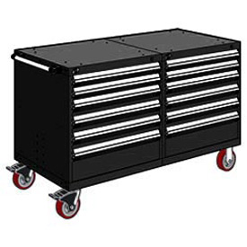 "Rousseau 12 Drawer Heavy-Duty Double Mobile Modular Drawer Cabinet - 48""Wx27""Dx37-1/2""H Black"
