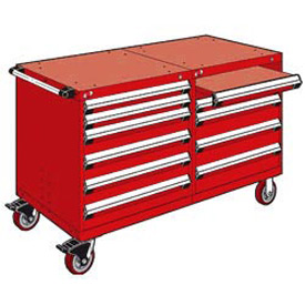 "Rousseau 10 Drawer Heavy-Duty Double Mobile Modular Drawer Cabinet - 48""Wx27""Dx37-1/2""H Red"