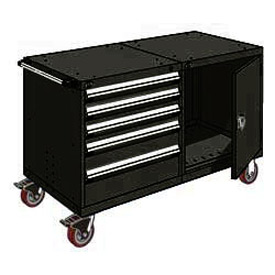 "Rousseau 5 Drawer Heavy-Duty Double Mobile Modular Drawer Cabinet - 48""Wx27""Dx37-1/2""H Black"