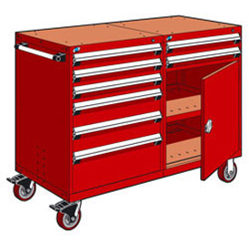 "Rousseau 8 Drawer Heavy-Duty Double Mobile Modular Drawer Cabinet - 48""Wx27""Dx45-1/2""H Red"