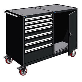 "Rousseau 7 Drawer Heavy-Duty Double Mobile Modular Drawer Cabinet - 48""Wx27""Dx45-1/2""H Black"