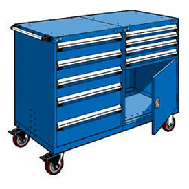 "Rousseau 9 Drawer Heavy-Duty Double Mobile Modular Drawer Cabinet -48""Wx27""Dx45-1/2""H Avalanche Blue"