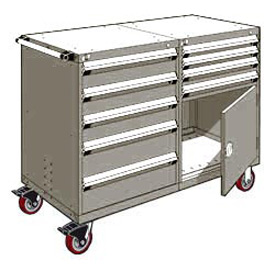 """Rousseau 9 Drawer Heavy-Duty Double Mobile Modular Drawer Cabinet - 48""""Wx27""""Dx45-1/2""""H Light Gray"""