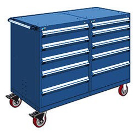 "Rousseau 10 Drawer Heavy-Duty Double Mobile Modular Drawer Cabinet - 48""x27""x45-1/2"" Avalanche Blue"