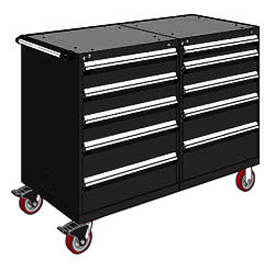 """Rousseau 10 Drawer Heavy-Duty Double Mobile Modular Drawer Cabinet - 48""""Wx27""""Dx45-1/2""""H Black"""
