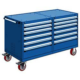 "Rousseau 12 Drawer Heavy-Duty Double Mobile Modular Drawer Cabinet - 60""x27""x37-1/2"" Avalanche Blue"