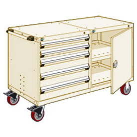 "Rousseau 5 Drawer Heavy-Duty Double Mobile Modular Drawer Cabinet - 60""Wx27""Dx37-1/2""H Beige"