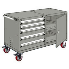 """Rousseau 5 Drawer Heavy-Duty Double Mobile Modular Drawer Cabinet - 60""""Wx27""""Dx37-1/2""""H Light Gray"""