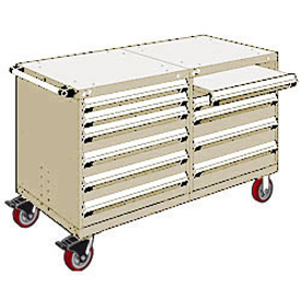 "Rousseau 10 Drawer Heavy-Duty Double Mobile Modular Drawer Cabinet - 60""Wx27""Dx37-1/2""H Beige"