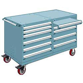 """Rousseau 10 Drawer Heavy-Duty Double Mobile Modular Drawer Cabinet - 60""""Wx27""""Dx37-1/2""""H Everest Blue"""
