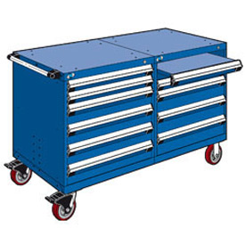 "Rousseau 10 Drawer Heavy-Duty Double Mobile Modular Drawer Cabinet - 60""x27""x37-1/2"" Avalanche Blue"